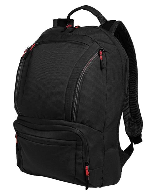 Port Authority BG200  Cyber Backpack Black/Red at bigntallapparel