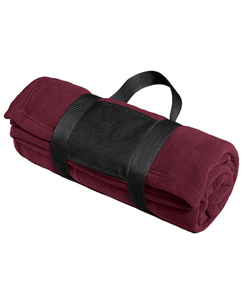Port Authority BP20  Fleece Blanket With Carrying Strap Maroon at bigntallapparel