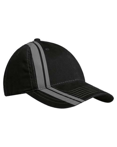 Port Authority C825  New  Double Stripe Cap Black/Charcoal at bigntallapparel