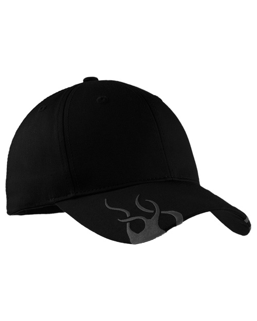 Port Authority C857  Racing Cap With Flames Black/Charcoal at bigntallapparel