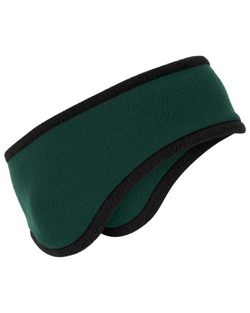Port Authority C916  Two-Color Fleece Headband Dark Green at bigntallapparel