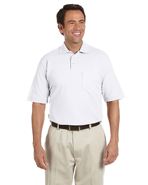Chestnut Hill CH100P Men Performance Plus Pique Polo With Pocket White at bigntallapparel