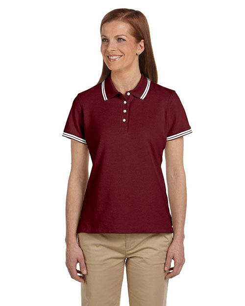 Chestnut Hill CH113W Women Tipped Performance Plus Pique Polo Merlot/White at bigntallapparel