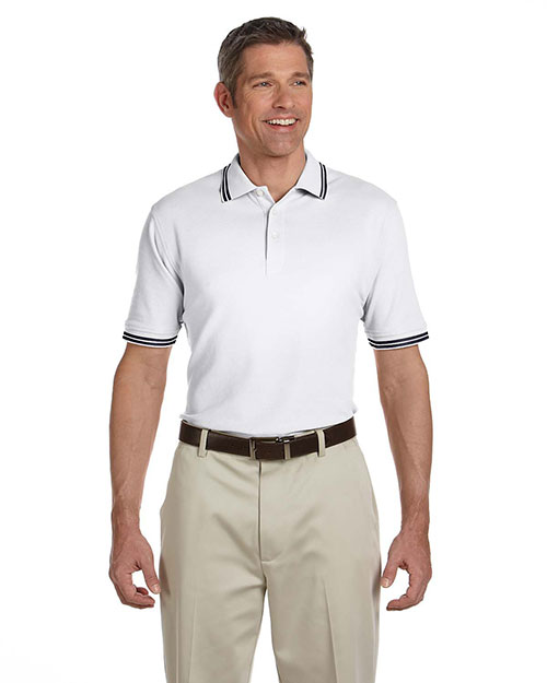 Chestnut Hill CH113 Men Tipped Performance Plus Pique Polo White/Ink at bigntallapparel