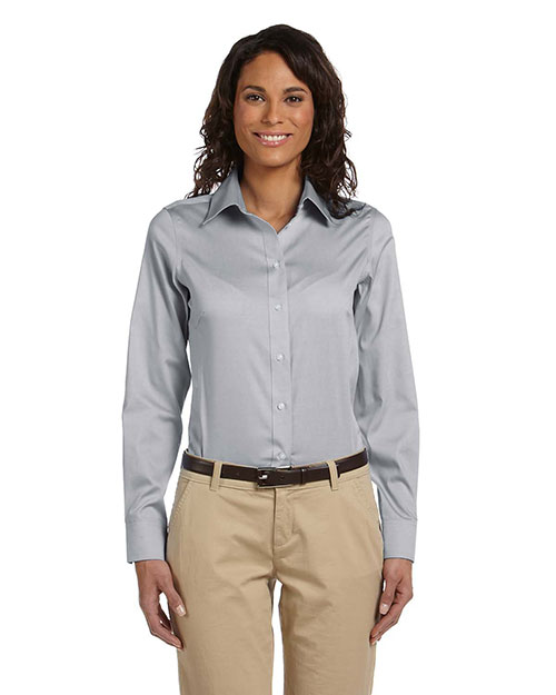 Chestnut Hill CH620W Women Executive Performance Pinpoint Oxford Silver Grey at bigntallapparel