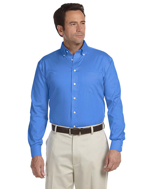 Chestnut Hill CH620 Men Executive Performance Pinpoint Oxford French Blue at bigntallapparel