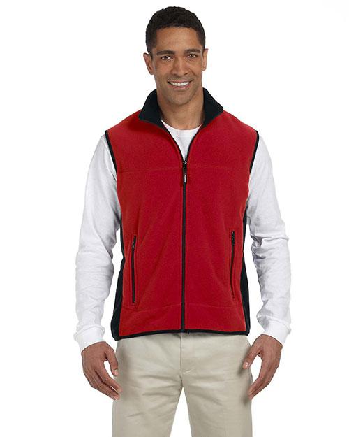 Chestnut Hill CH960 Men Polartec Colorblock Full Zip Vest Cherry/Black at bigntallapparel