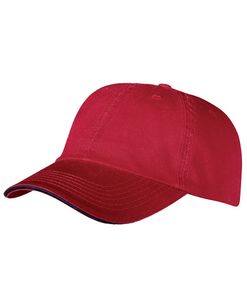 Port & Company CP79  Washed Twill Sandwich Cap Red/Navy at bigntallapparel