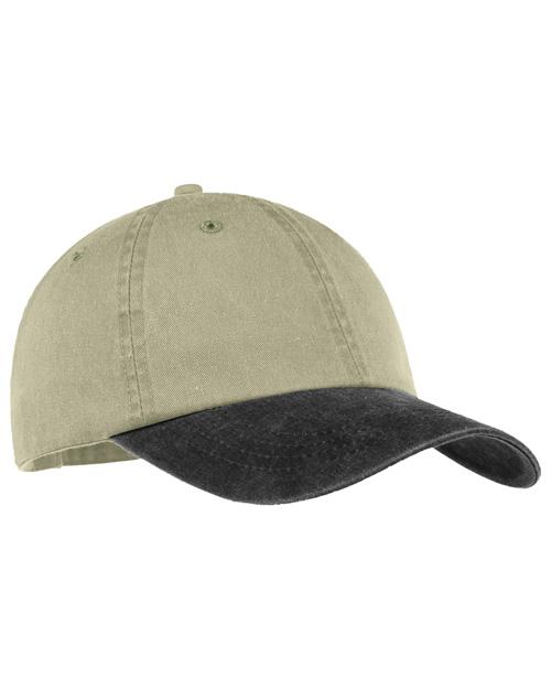 Port & Company CP83  2 Tone Pigment Dyed Cap Khaki/Black at bigntallapparel