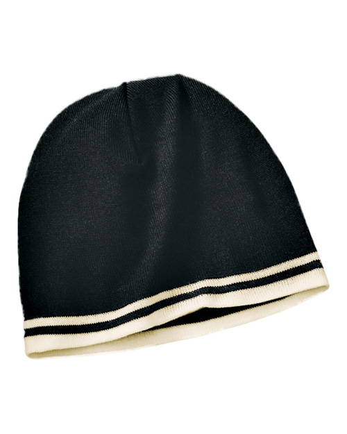 Port & Company CP93  Fine Knit Skull Cap With Stripe Black/Natural at bigntallapparel