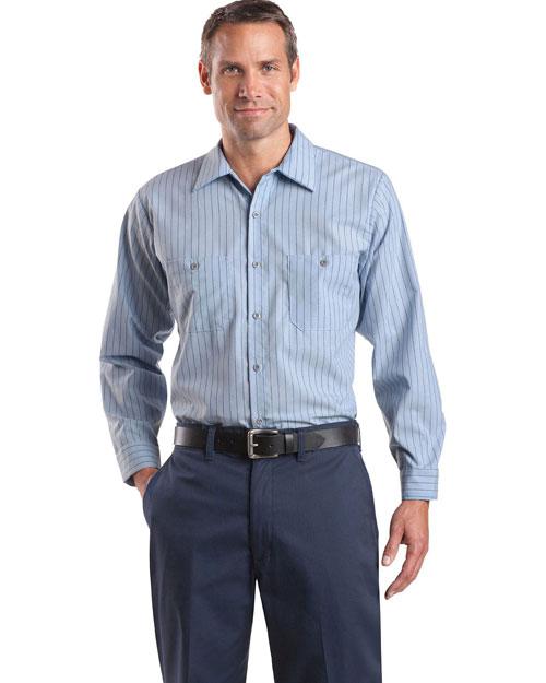 Cornerstone CS10 Men  Long Sleeve Striped Industrial Work Shirt Light Blue/Navy at bigntallapparel