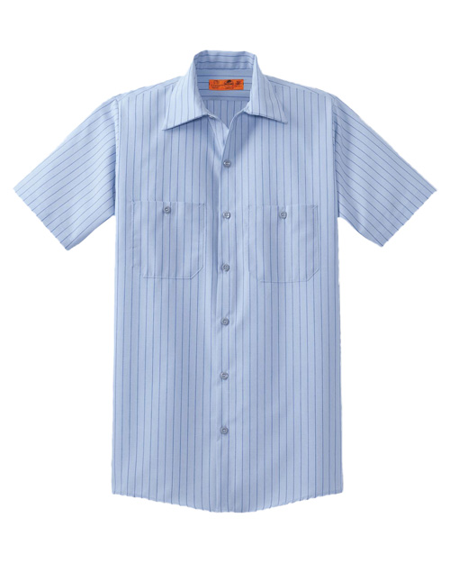 Cornerstone CS20 Men Short Sleeve Striped Industrial Work Shirt Light Blue/Navy at bigntallapparel