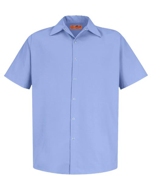 Cornerstone CS26 Men Short Sleeve Pocketless Snap Work Shirt Light Blue at bigntallapparel