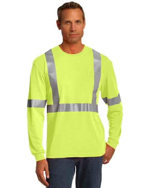 Cornerstone CS401LS Men Ansi 107 Class 2 Long Sleeve Safety Tshirt Safety Yellow at bigntallapparel