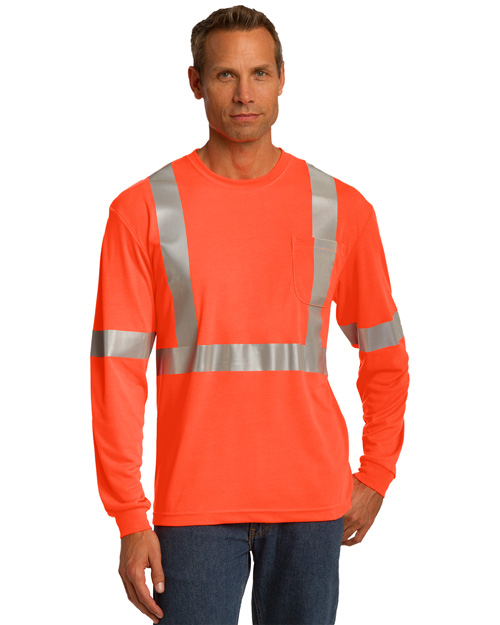 Cornerstone CS401 Men Ansi Compliant Safety Work T Shirt Safety Orange/ Reflective at bigntallapparel