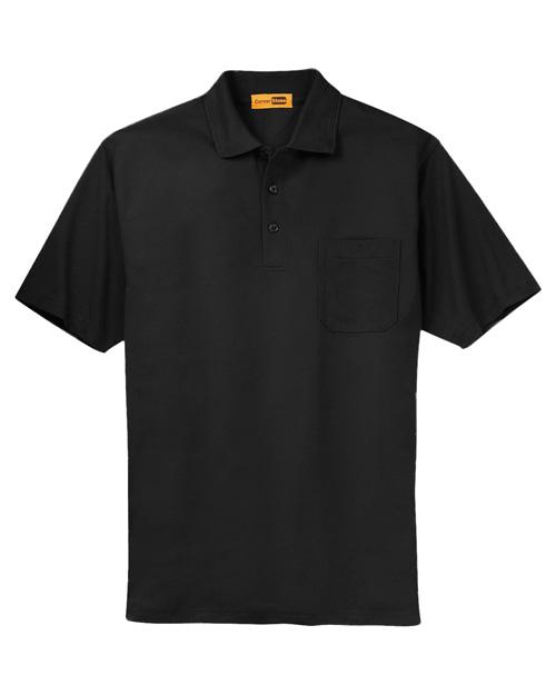 Cornerstone CS402P Men Industrial Pocket Pique Polo Black at bigntallapparel