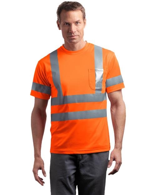 Cornerstone CS408 Men Ansi Class 3 Short Sleeve Snag Resistant Reflective T Shirt Safety Orange at bigntallapparel