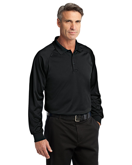 Cornerstone CS410LS Men Select Long Sleeve Snag-Proof Tactical Polo Black at bigntallapparel