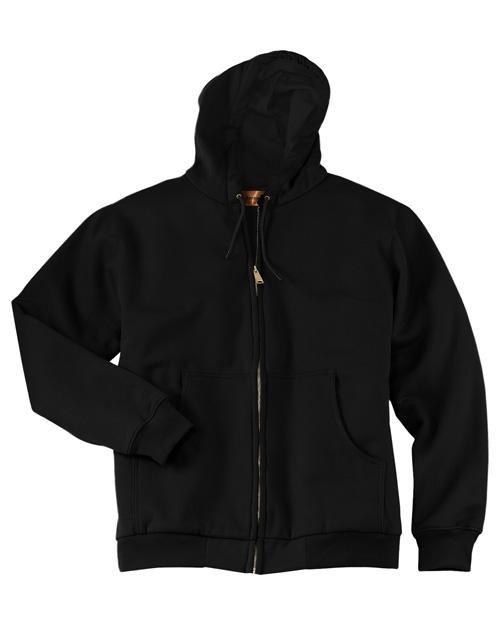 Cornerstone CS620 Men Heavy Weight Full Zip Hoodie With Thermal Lining Black at bigntallapparel