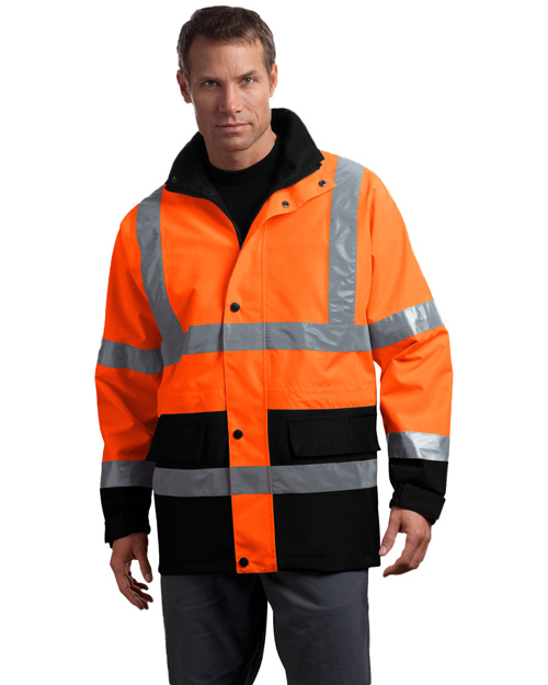 Cornerstone CSJ24 Men Ansi Class 3 Waterproof Parka Safety Orange at bigntallapparel