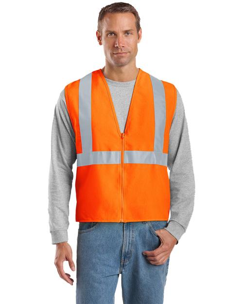 Cornerstone CSV400 Men Ansi Compliant Safety Work Vest Safety Orange/ Reflective at bigntallapparel