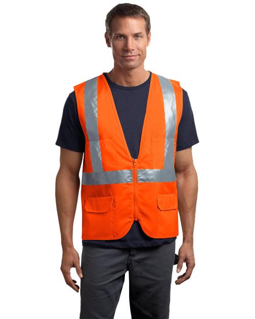 Cornerstone CSV405 Men Ansi Class 2 Mesh Back Safety Vest Safety Orange at bigntallapparel
