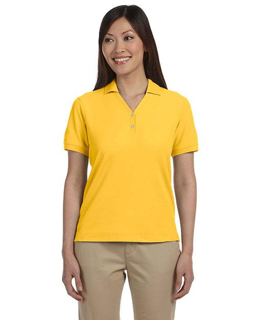Devon & Jones D100W Women Pima Pique Short-Sleeve Y-Collar Polo Sunray Yellow at bigntallapparel