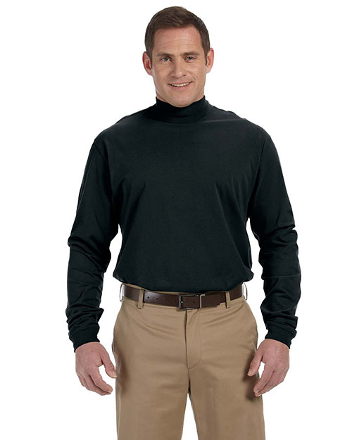 Devon & Jones D420 Men Sueded Cotton Jersey Mock Turtleneck Black at bigntallapparel