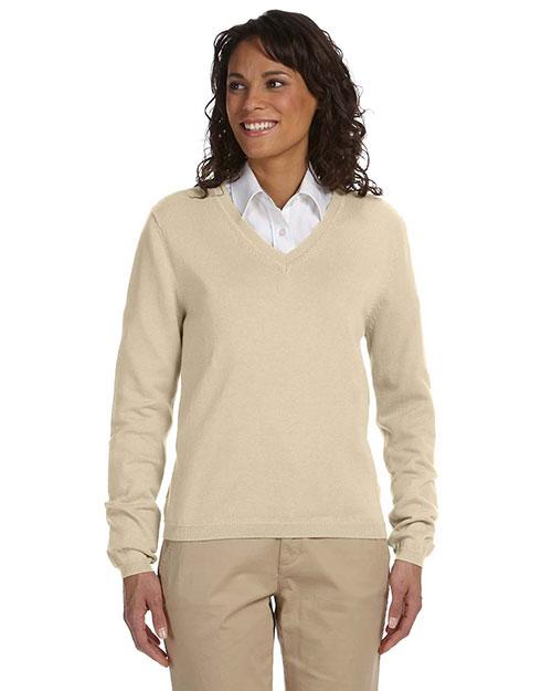 Devon & Jones D475W Women V-Neck Sweater Stone at bigntallapparel