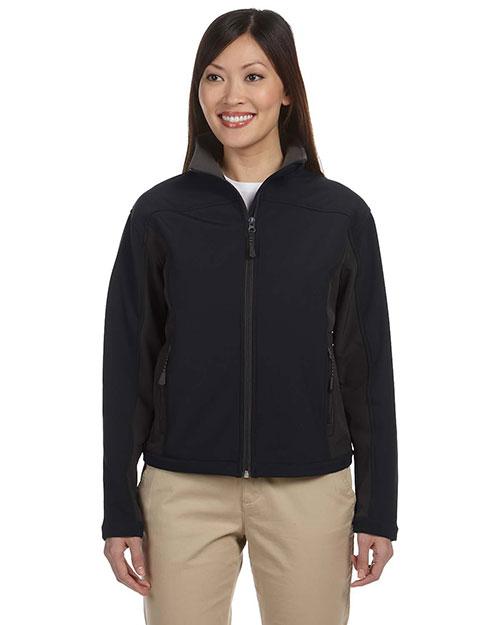 Devon & Jones D997W Women Soft Shell Colorblock Jacket Black/Dk Charcoal at bigntallapparel