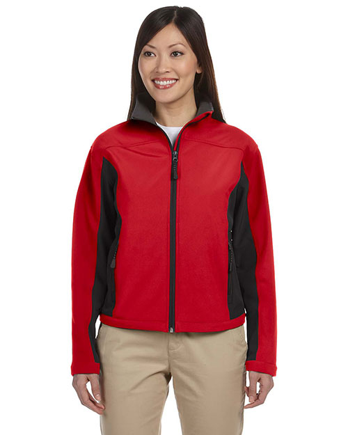 Devon & Jones D997W Women Soft Shell Colorblock Jacket Red/Dk Charcoal at bigntallapparel