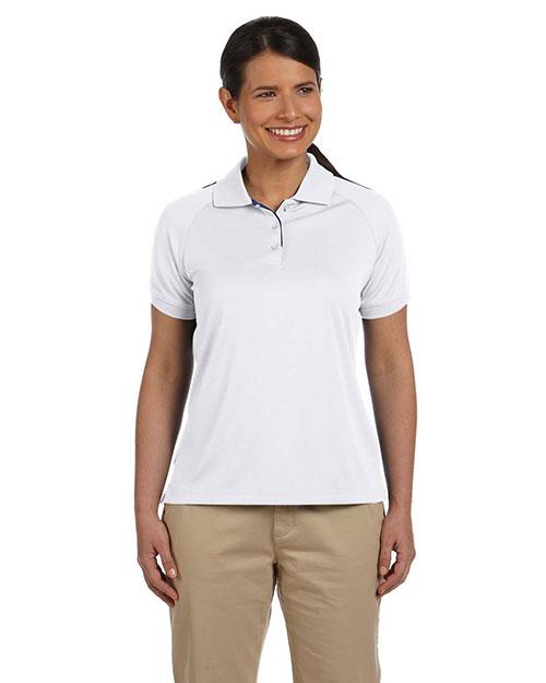 Devon & Jones DG375W Women Dri-Fast Advantage Colorblock Mesh Polo White/New Navy at bigntallapparel