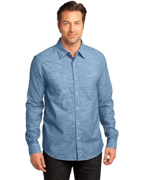 District Threads DM3800 Men   Long Sleeve Washed Woven Shirt Light Blue at bigntallapparel