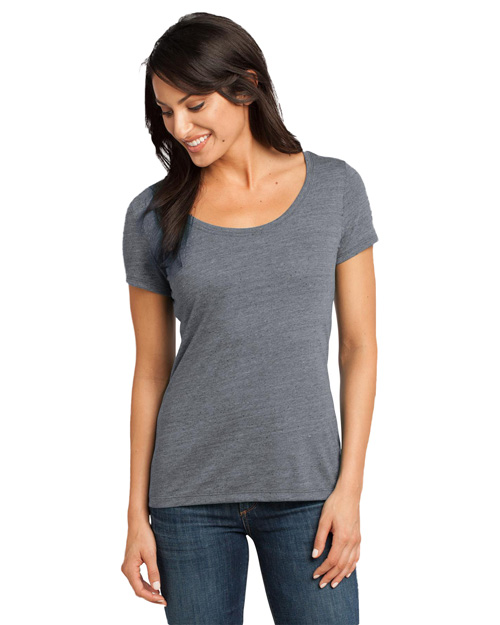 District Threads DM471 Women   Textured Scoop Tee Charcoal at bigntallapparel