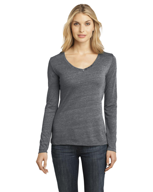 District Threads DM472 Women Textured Long Sleeve V-Neck With Button Detail Charcoal at bigntallapparel