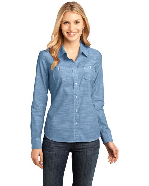 District Threads DM4800 Women Long Sleeve Washed Woven Shirt Light Blue at bigntallapparel