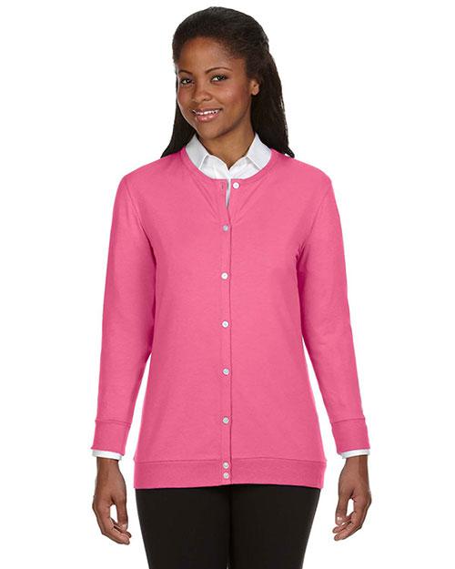 Devon & Jones DP181W Women Perfect Fit Ribbon Cardigan Charity Pink at bigntallapparel