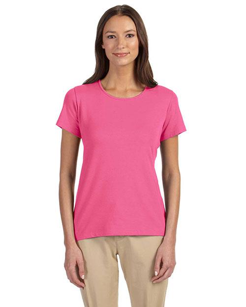 Devon & Jones DP182W Women Perfect Fit Shell T-Shirt Charity Pink at bigntallapparel