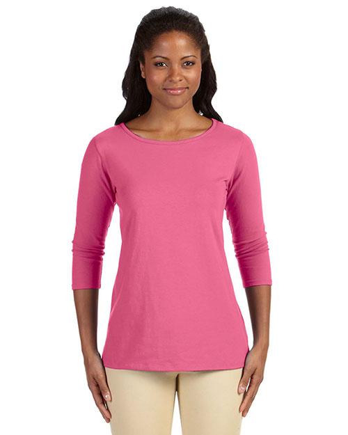 Devon & Jones DP192W Women Perfect Fit Ballet Bracelet-Length T-Shirt Charity Pink at bigntallapparel
