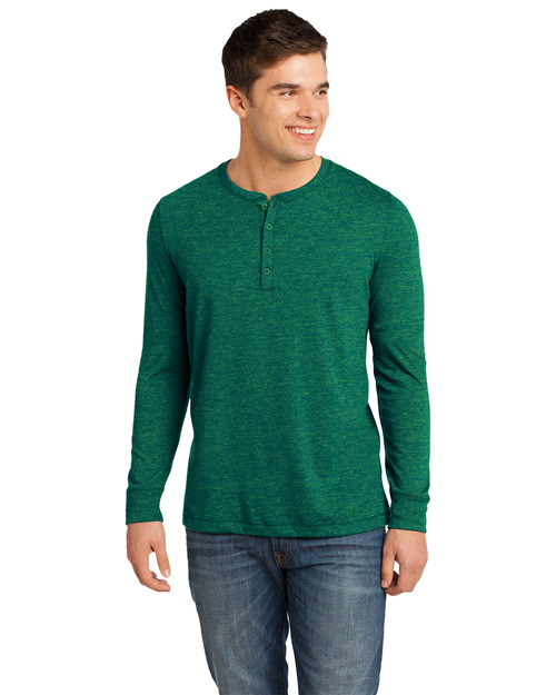 District Threads DT1401 Men Gravel 50/50 Long Sleeve Henley Tee Green Gravel at bigntallapparel