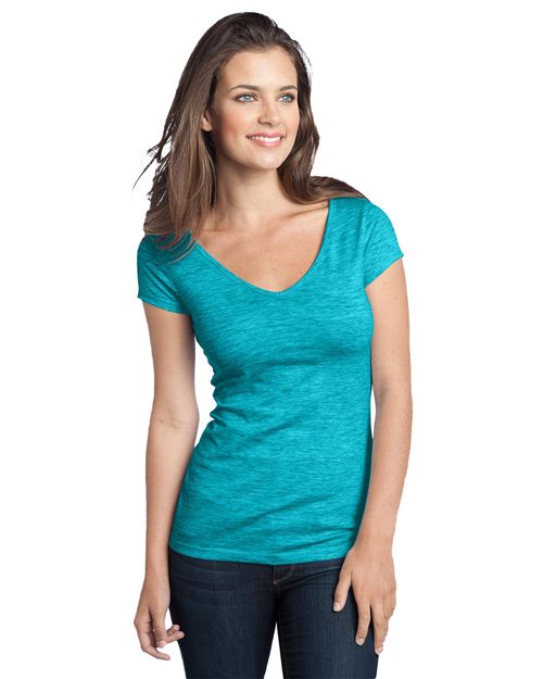 District Threads DT2001 Women Extreme Heather Cap Sleeve V-Neck Tee Aquamarine at bigntallapparel