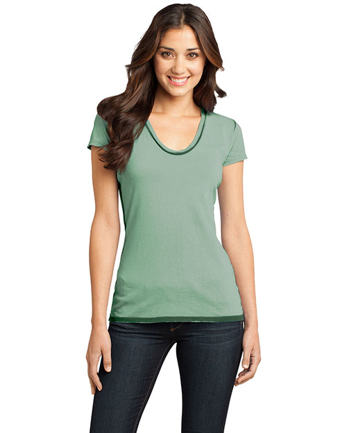 District Threads DT2202 Women Faded Rounded Deep V-Neck Tee Forest Green at bigntallapparel