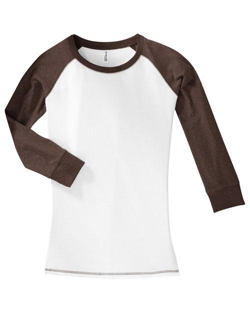 District Threads DT226 Womenjuniors 3/4-Sleeve Cotton Raglan Tee White/Heathered Mocha Brown at bigntallapparel
