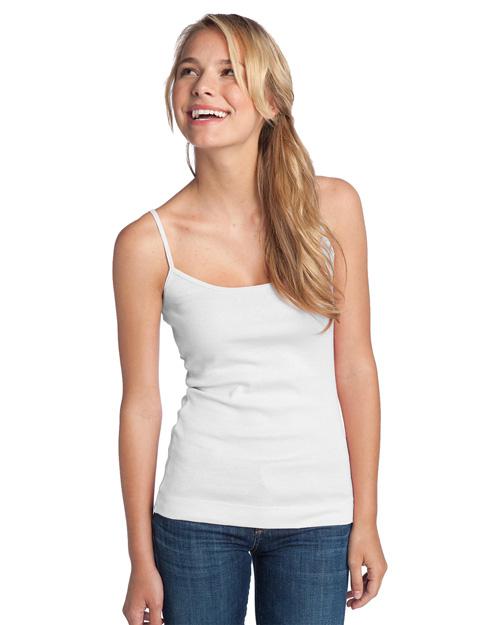 District Threads DT232 Women 1x1 Rib Spaghetti Strap Tank Bright White at bigntallapparel