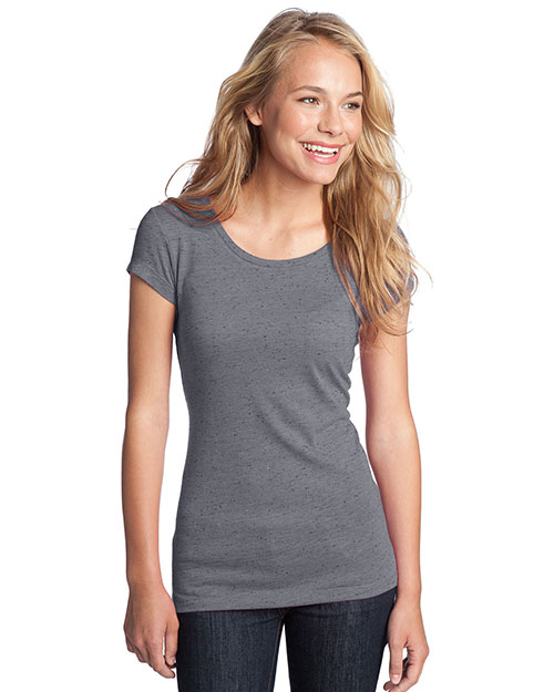District Threads DT270 Women Textured Girly Crew Tee Charcoal at bigntallapparel