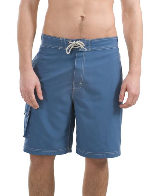 District Threads DT405 Men Contrast Waist Boardshorts Bali Blue/Red at bigntallapparel