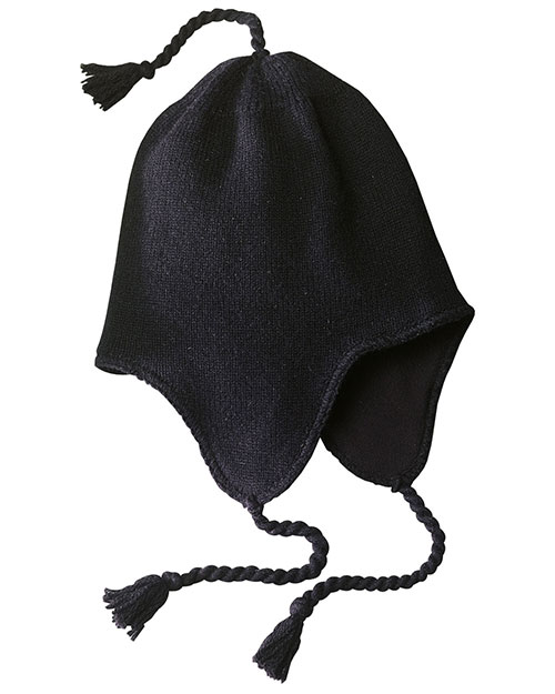 District Threads DT604  Knit Hat With Earflaps Black at bigntallapparel