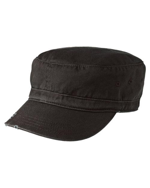District Threads DT605  Distressed Military Hat Black at bigntallapparel