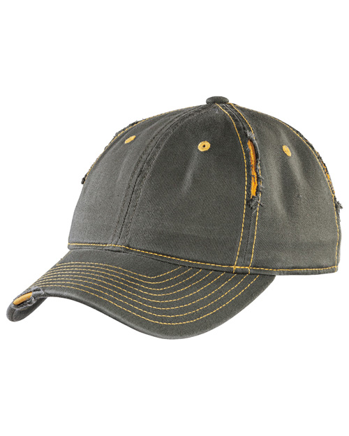 District Threads DT612  Rip And Distressed Cap Army/Gold at bigntallapparel