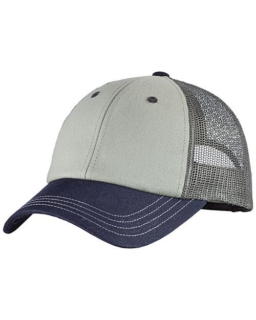District Threads DT616  Tri-Tone Mesh Back Cap Chrome/New Navy/Charcoal at bigntallapparel